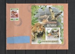W] Enveloppe Circulée Circulated Cover Burundi Feuillet NON Dentelé IMPERFORATED Félin Feline Jaguar Cerf Deer Hibou Owl - Big Cats (cats Of Prey)