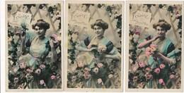 Lot / Série De 3 Cartes Prénom LOUISE   Bonne Fête  ( Recto Verso ) - Prénoms