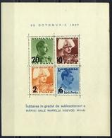 ROMANIA 1937 King Carol Centenary,Royalty,Sigmaringen,COMMEMORATIV OVERPRINTED BLOCK MNH ,OG VF PERFORATED - Neufs