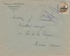 147/27 - Lettre TP Germania TESSENDERLOO 1917 - Censure HASSELT - Entete François Raynaud - Guerre 14-18