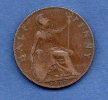 Grande Bretagne  --  1/2 Penny 1910  -  Km # 793.2  -  état  TB+ - 1902-1971 : Monnaies Post-Victoriennes