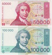 Croatia SET - 50000 50.000 & 100000 100.000 Dinara 3.05.1993 - UNC - Croazia