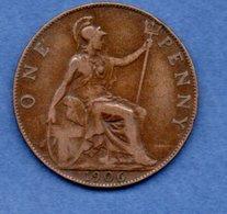 Grande Bretagne  --  1 Penny 1906  -  Km # 794.2  -  état  TB+ - D. 1 Penny
