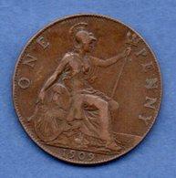 Grande Bretagne  --  1 Penny 1909  -  Km # 794.2  -  état  TTB - 1902-1971 : Monnaies Post-Victoriennes