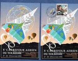 Lot De 2 Cartes / 10 Carrefour Aérien Du Tourisme / Aulnat Aéroport / 27-1-95 - Maximum Cards