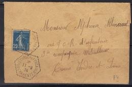 Brie De La Rochefoucauld (Charente) : Timbre à Date De La Poste Rurale F4, 1924. - Marcophilie (Lettres)
