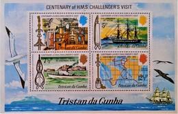 """CENTENAIRE DE LA VISITE DU H.M.S """"CHALLENGER"""" 1973 - NEUF ** - YT BL 1 - MI BL 1 - Tristan Da Cunha"""