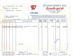 """Facture + Traite  1958 / PARIS / Fromageries BEL """"LA VACHE QUI RIT"""" - Alimentaire"""
