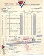 """Facture + Traite  1955 / PARIS / Fromageries BEL """"LA VACHE QUI RIT"""" / Adressée à M. MACQUAT Besançon - Alimentaire"""