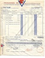 """Facture + Traite  1954 / PARIS / Fromageries BEL """"LA VACHE QUI RIT"""" / Adressée à M. MACQUAT Besançon - Alimentaire"""