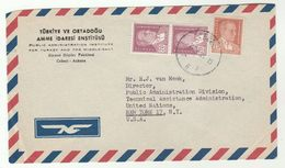 1955 TURKEY Public Admin Inst To UNITED NATIONS USA Airmail COVER  Stamps Un - 1921-... Republic