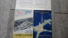 Plan Exposition Internationale 1937 Paris Galeries Lafayette - Publicités