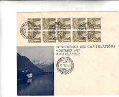 Conférence Des Capitulations, Montreux 1937 Cover - Marcophilie