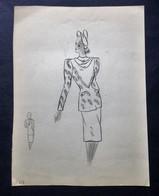 Ancien Dessin Croquis De Mode, Femme, Tailleur, Dessin  Non Signé - Disegni