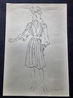 Ancien Dessin Croquis De Mode, Femme, Robe, Chapeau - Disegni