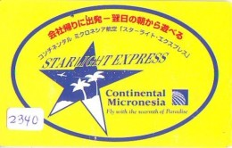 Télécarte  JAPON * 110-188999 * CONTINENTAL MICRONESIA (2340)  Airplane * Flugzeug AVION * AIRLINE * Phonecard JAPAN - Avions