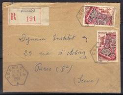 Cognac A (Charente) : Timbre à Date Des Recettes Auxiliaires Urbaines D7 Sur Enveloppe Recommandée, 1955. - Marcophilie (Lettres)