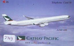 Télécarte  JAPON * 110-016 * CATHAY PACIFIC  (2343) Airplane * Flugzeug AVION * AIRLINE * Phonecard JAPAN - Avions