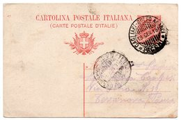 Cartolina Postale V.Em:III Cent.10 Mill.17  Annullo Ambulante CAGLIARI - GOLFO ARANCI - PACCHI 18 Gen. 1918 - 1878-00 Umberto I