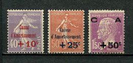 FRANCE 1928 N° 249/251 ** Neufs MNH Superbe TB 251  C 235 € Caisse D'amortissement Pasteur Semeuse Lignée - Unused Stamps