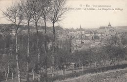 Cp , 76 , EU , Vue Panoramique, L'Église Notre-Dame, Le Château, La Chapelle Du Collège - Eu