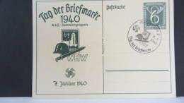DR 33-45: Gs-Karte Mit 6 Pf Tag Der Briefmarke Mit SoSt. Mannheim 7.1.40 Feine Erhaltung Vom Ersttag-unbeschr. Knr:P 288 - Briefe U. Dokumente