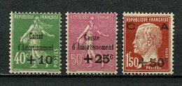 FRANCE 1929 N° 253/255 ** Neufs MNH Superbe C 275 € Caisse D'amortissement Pasteur Semeuse Lignée - Nuevos