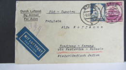 DR 33-45: Ausl-Lp-Brief Mit 25 Pf Händel U. 40 Pf Lok (beschädigt) Aus Stade Nach Tandjong-Karang  5.12.35 Knr: 583, 575 - Deutschland