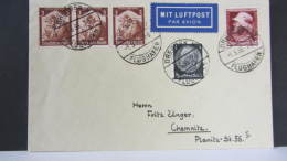 DR 33-45: Lp-Brief  Von DRSDEN N FLUGHAFEN Nach Chemnitz Mit 12 Pf + 10 Pf Lp-Zuschlag Vom 1.5.35 Knr: 565 (3) Ua - Deutschland