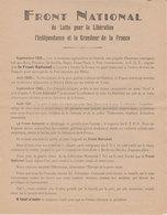 Ww2 Tract Propagande Le FRONT NATIONAL De Lutte Pour La Libération Unis Même Juifs Et Franc-maçons éditeur Roudiere - Documents