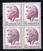 156/1500 - SVIZZERA 1941 , Pestalozzi  Unificato N. 427 ***  MNH  : Quartine - Nuovi
