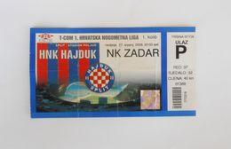 HAJDUK : ZADAR - 2008. Croatia Premier League Football Match Ticket * Soccer Foot Billet Fussball Calcio Futbol Futebol - Match Tickets