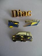 Pin's RENAULT DIAC Financement, Big Pin's Logo Doré + 3 Pin's Arthus BERTRAND EGF. - Renault
