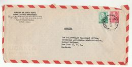 1950s TURKEY Public Admin Inst To UNITED NATIONS USA Airmail COVER  Stamps Un - 1921-... Republic
