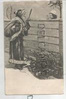 Saint Nicolas. Père Fouettard Menace Une Petite Fille Qui Lui Fait Un Pied-de-nez. Sapin, Traîneau. Paillettes. - San Nicolás