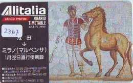 Télécarte  JAPON * ALITALIA * FRESQUE CHEVAL  (2367)  * AVION * AIRLINE * Phonecard JAPAN - Avions