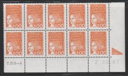 3089 1F.Orange Luquet Type I -Demi Bas Feuille De 10 TD6-4 Du 2.9.97 - 1997-04 Marianne Du 14 Juillet