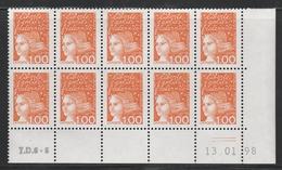 3089 1F.Orange Luquet Type I -Demi Bas Feuille De 10 TD6-5 Du 13.01.98 - 1997-04 Marianne Du 14 Juillet