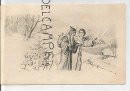 Saint Nicolas à Capuche. Un Ange Lui Montre Le Chemin, Traîneau, Sapin. Dessin. - Saint-Nicolas