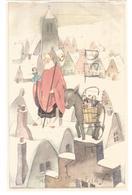 Saint Nicolas Avec Mitre Et Crosse Sur Les Toits De La Ville, âne Sur Un Pignon à Redents. Dessin. - Saint-Nicolas