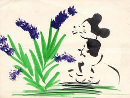 Dessin Ou Peinture à La Gouache Originale, Pochoir De Mickey Ancien - Mickey Mouse - Old Paper