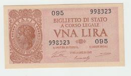 Italy 1 Lire 1944 UNC NEUF P 29a  29 A - [ 1] …-1946 : Kingdom