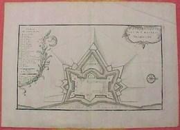 XVII °  GRAVURE  PLAN Du CHATEAU TROMPETTE BORDEAUX , NICOLAS De FER , Echelle 60 Toises  Papier à Trames & Filigrane . - Engravings