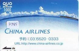 Carte Prépayée  Japon  * CHINA AIRLINES    (2385)  * AVIATION * AIRLINE * PREPAID CARD  JAPAN - Avions