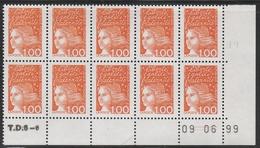 3089 1 F.Orange LUQUET TYPE I - DEMI BAS De FEUILLE De 10 TD6-6 Du 9.6.99 - 1997-04 Marianne Du 14 Juillet