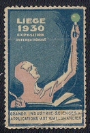 BELGIQUE - VIGNETTE - LIÈGE - EXPOSITION INTERNATIONALE 1930 - Vignettes D'affranchissement