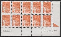 3089 1 F.Orange LUQUET TYPE I -DEMI BAS De FEUILLE De 10 TD6-5 Du 17.8.99 - 1997-04 Marianne Of July 14th