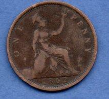 Grande Bretagne  --  1 Penny 1862  -  Km # 749.1  -  état  TB+ - 1902-1971 : Monnaies Post-Victoriennes