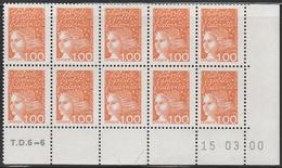 3089 1 F.Orange LUQUET TYPE I -DEMI BAS De FEUILLE De 10 TD6-6 Du 15.03.00 - 1997-04 Marianne Of July 14th