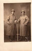Rare Photo Carte Deux Soldats En Capote Et Casque Du  70 Eme RI - 1914-18
